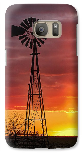 Galaxy Case featuring the photograph Windmill And Light Pillar by Rob Graham