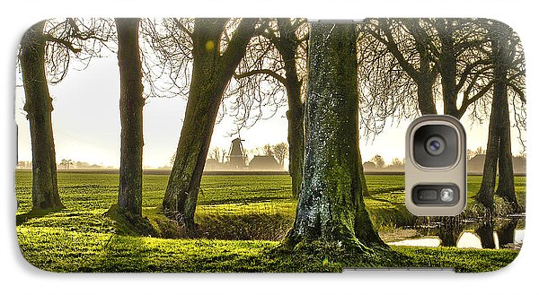 Galaxy Case featuring the photograph Windmill And Trees In Groningen by Frans Blok