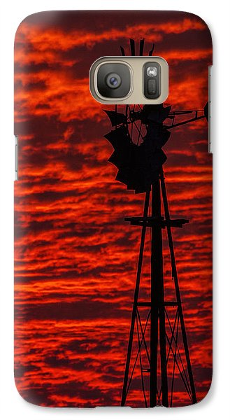 Galaxy Case featuring the photograph Windmill At Sunset by Rob Graham