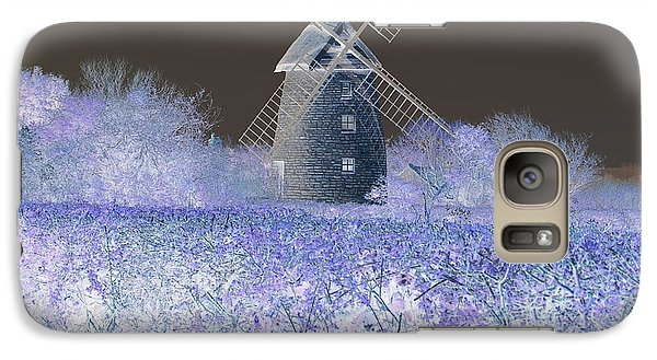 Galaxy Case featuring the photograph Windmill In A Purple Haze by Linda Prewer
