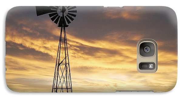 Galaxy Case featuring the photograph Windmill In Soft Blue Sky by Shirley Heier