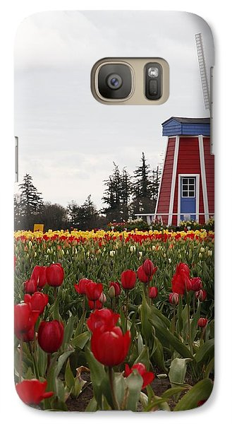 Galaxy Case featuring the photograph Windmill Red Tulips by Athena Mckinzie