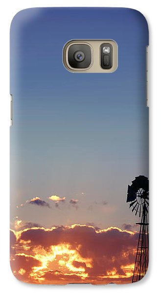 Galaxy Case featuring the photograph Windmill Sunset by Rod Seel