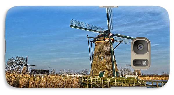 Galaxy Case featuring the photograph Windmills And Bridge Near Kinderdijk by Frans Blok