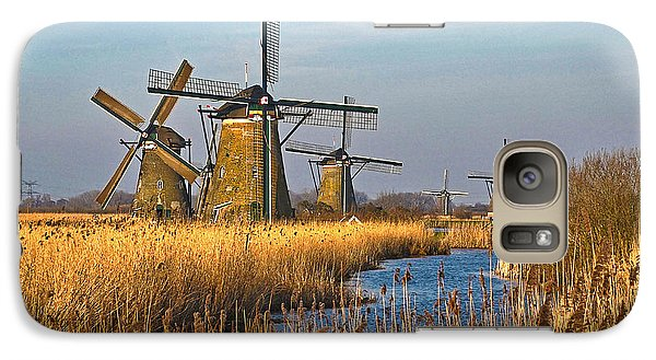 Galaxy Case featuring the photograph Windmills And Reeds Near Kinderdijk by Frans Blok