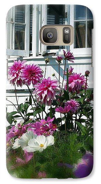 Galaxy Case featuring the photograph Windows And Flowers by Randy Pollard