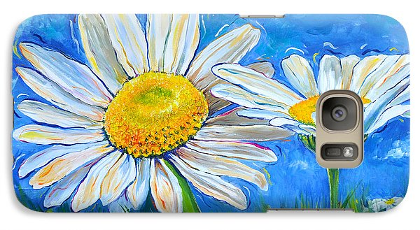 Galaxy Case featuring the painting Windswept Daisies by Lisa Fiedler Jaworski