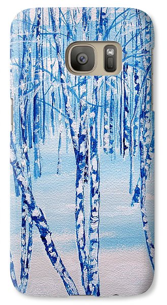 Galaxy Case featuring the painting Winter Birch by Ellen Canfield