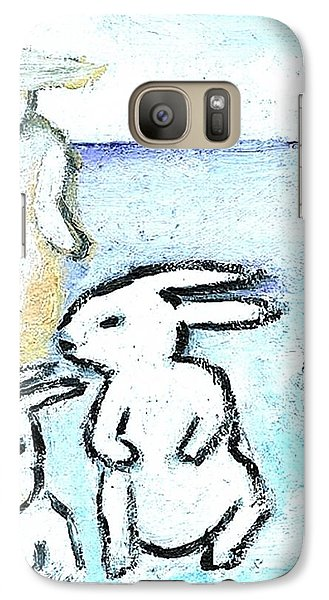 Galaxy Case featuring the painting Winter Bunnies by Michael Dohnalek