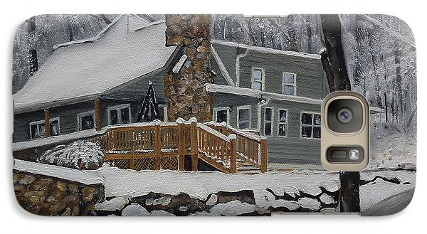 Galaxy Case featuring the painting Winter - Cabin - In The Woods by Jan Dappen