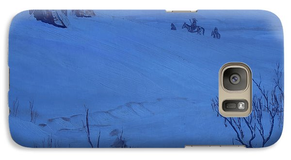Galaxy Case featuring the painting Winter Camp In Blue by Anastasia Savage Ealy