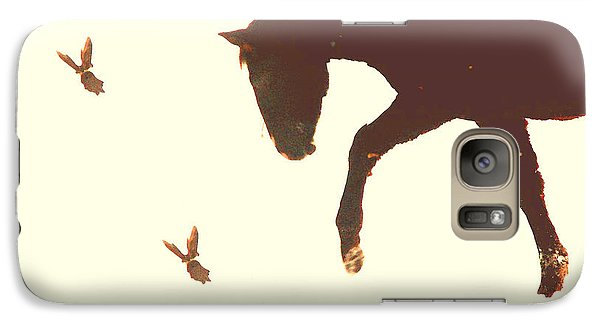 Galaxy Case featuring the photograph Winter Colt With Two Magpies by Anastasia Savage Ealy