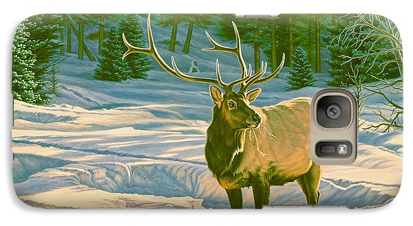 Bull Galaxy S7 Case - Winter Forage - Elk by Paul Krapf