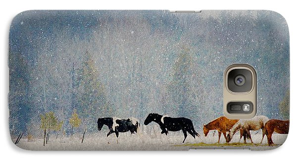 Galaxy Case featuring the photograph Winter Horses by Ann Lauwers