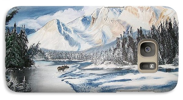 Galaxy Case featuring the painting Winter In The Canadian Rockies by Sharon Duguay
