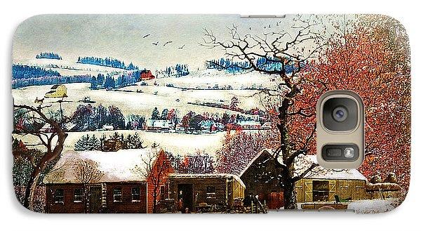 Folk Art Galaxy S7 Case - Winter In The Country Folk Art by Lianne Schneider
