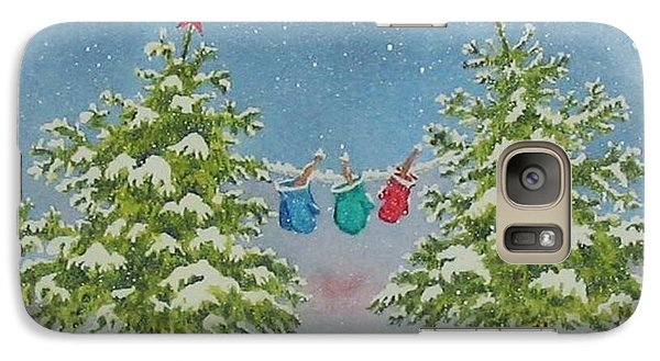 Galaxy Case featuring the painting Winter Is Fun by Mary Ellen Mueller Legault