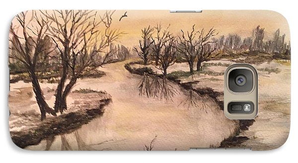 Galaxy Case featuring the painting Winter Lake Scene by Lucia Grilletto