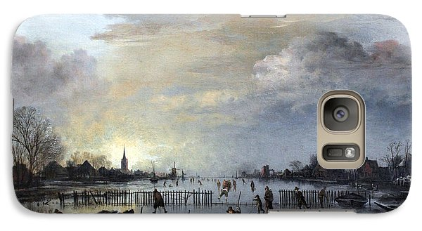 Galaxy Case featuring the painting Winter Landscape With Skaters by Gianfranco Weiss