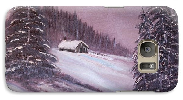 Galaxy Case featuring the painting Winter Moon by Janice Rae Pariza