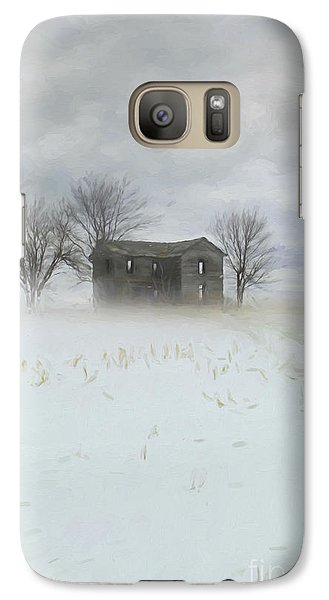 Galaxy Case featuring the photograph Winter Scene Of A Farmhouse/digital Painting by Sandra Cunningham