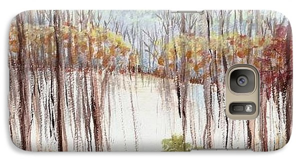 Galaxy Case featuring the painting Winter Scene Tracks by Christina Verdgeline