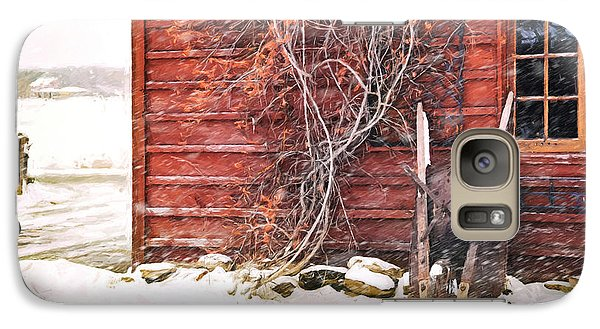 Galaxy Case featuring the photograph Winter Scene With Barn And Wheelbarrow/ Digital Painting  by Sandra Cunningham