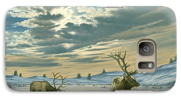 Bull Galaxy S7 Case - Winter Sky-elk   by Paul Krapf