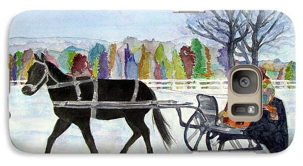 Galaxy Case featuring the painting Winter Sleigh Ride by Carol Flagg