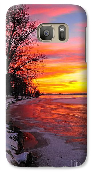 Galaxy Case featuring the photograph Winter Sunrise On Lake Cadillac by Terri Gostola