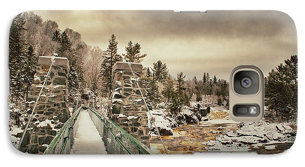 Galaxy Case featuring the photograph Winter Sunrise Over A Swinging Bridge by Mark David Zahn
