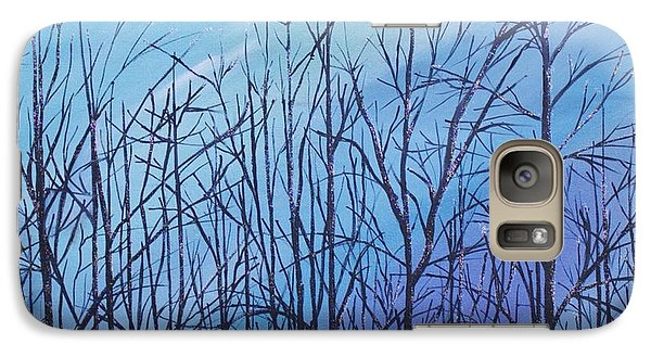 Galaxy Case featuring the painting Winter Trees Against A Blue Sky by Ellen Canfield