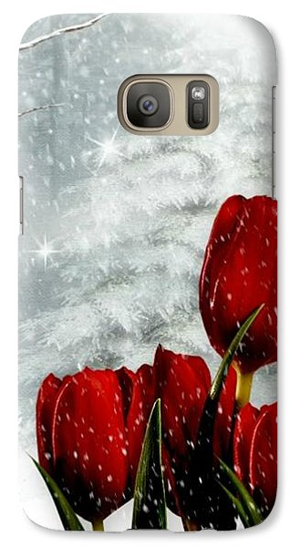 Galaxy Case featuring the mixed media Winter Tulips by Morag Bates