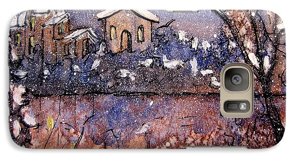 Galaxy Case featuring the painting Winterscene Reflections by Gretchen Allen