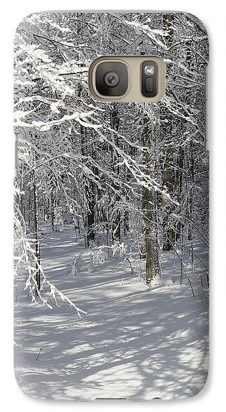 Galaxy Case featuring the photograph Wintery Woodland Shadows by Patricia Overmoyer