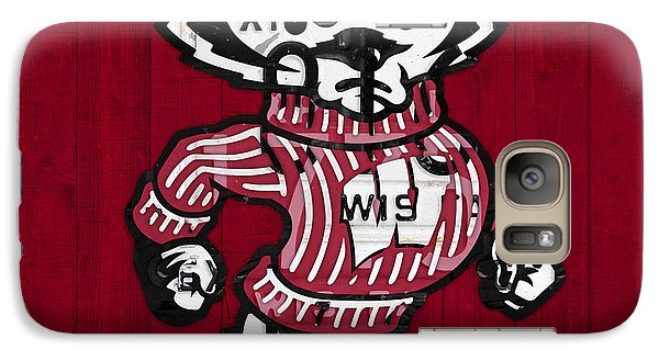 Wisconsin Badgers College Sports Team Retro Vintage Recycled License Plate Art Galaxy S7 Case