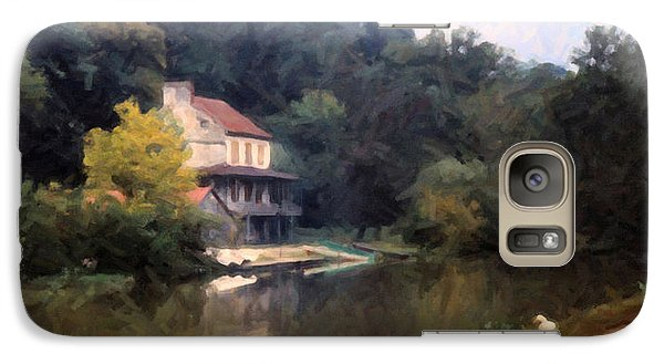 Galaxy Case featuring the digital art A Duck And A House On The Canal by Spyder Webb