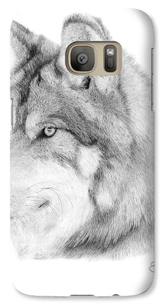 Galaxy Case featuring the drawing Wolf - 006 by Abbey Noelle