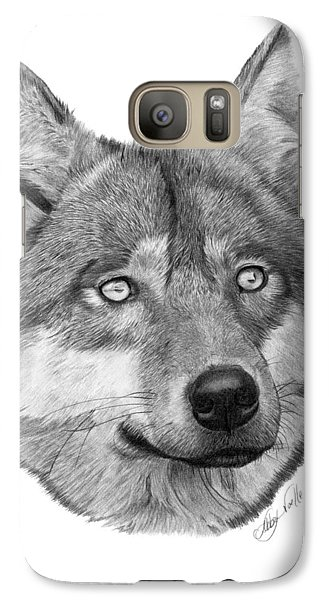 Galaxy Case featuring the drawing Wolf - 017 by Abbey Noelle