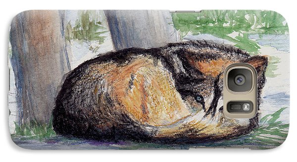 Galaxy Case featuring the painting Wolf At Rest by Brenda Thour