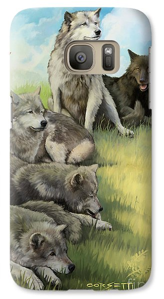 Galaxy Case featuring the painting Wolf Gathering Lazy by Rob Corsetti