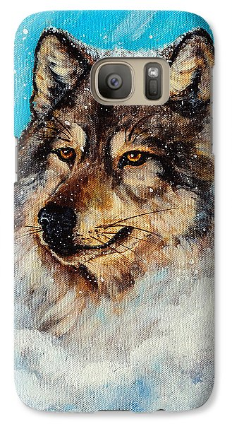 Galaxy Case featuring the painting Wolf In A Snow Storm by Bob and Nadine Johnston