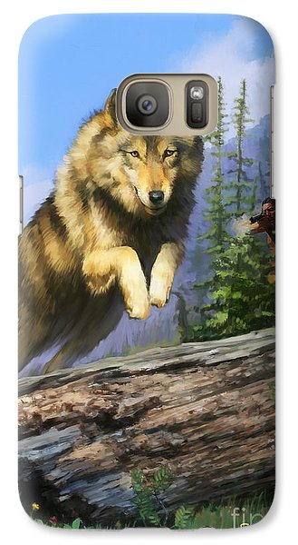 Galaxy Case featuring the painting Wolf Run Indian Hunter by Rob Corsetti
