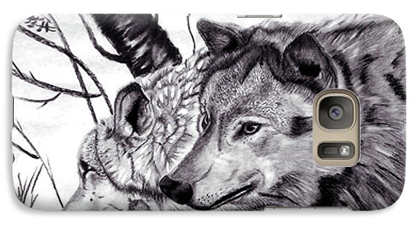 Galaxy Case featuring the drawing Wolves by Mayhem Mediums