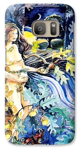 Galaxy Case featuring the painting Woman Holding An Acorn -  by Trudi Doyle