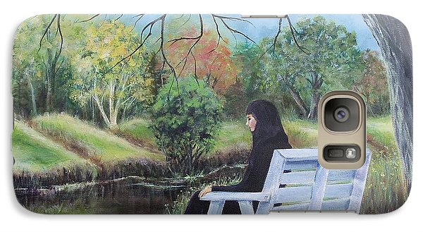 Galaxy Case featuring the painting Woman In Black by Susan DeLain