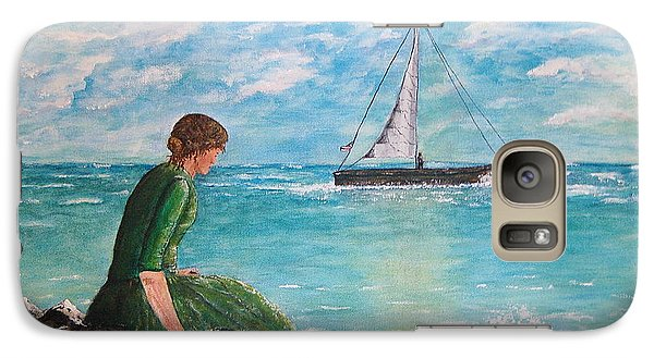 Galaxy Case featuring the painting Woman Looking Out To Sea by Tamyra Crossley