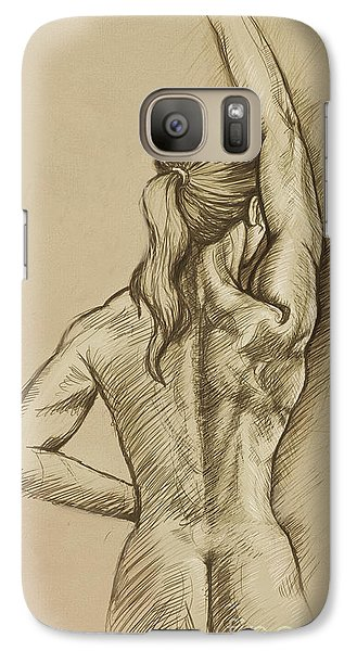 Galaxy Case featuring the drawing Woman Sketch by Rob Corsetti