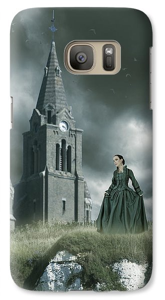 Galaxy Case featuring the photograph Woman Standing On A Cliff By A Church by Ethiriel  Photography