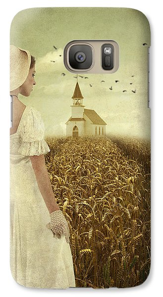 Galaxy Case featuring the photograph Woman Walking Towards Old Church In Cornfield by Ethiriel  Photography